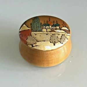 VTG RUSSIAN Hand Painted Carved Lacquer Wood Box